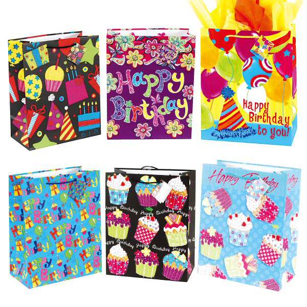 12 Assorted Extra Large Birthday Gift Bags