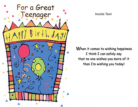 teen birthday cards - Teenage Birthday Cards