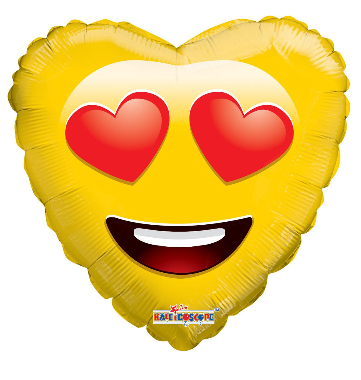 smiley emoji in love heart shaped mylar balloons
