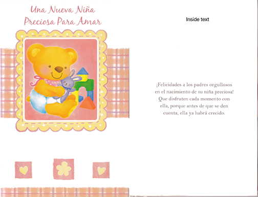 Spanish baby girl card