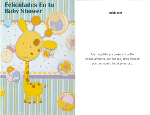 spanish baby shower card 1 dozen - Baby Shower Cards
