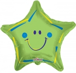 Green Star Smiley Mylar Balloon (6 pack)