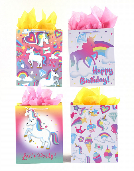 Large Assorted Unicorn Birthday Gift Bags