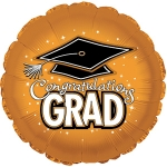 *Graduation Orange Round Mylar Balloons (6 pack)