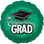 *Graduation Green Round Mylar Balloon (6 pack)