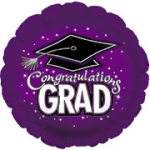 *Graduation Purple Round Mylar Balloon (1/2 dozen)