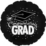 *Graduation Black Round Mylar Balloon (1/2 dozen)