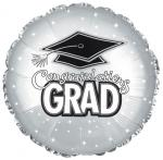 *Graduation Platinum Mylar Balloon (6 pack)
