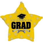 *Graduation Yellow Star Mylar Balloon (6 pack)
