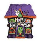 Halloween Mylar Balloons with Ribbon Attached (6 pack)